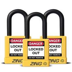 "ZING RecycLock Safety Padlock, Keyed Alike,1-1/2"" Shackle, 1-3/4"" Body, Yellow, 3 Pack"