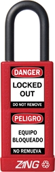 "ZING RecycLock Safety Padlock, Keyed Alike, 1-1/2"" Shackle, 3"" Long Body, Red"