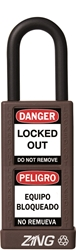 "ZING RecycLock Safety Padlock, Keyed Alike, 1-1/2"" Shackle, 3"" Long Body, Brown"