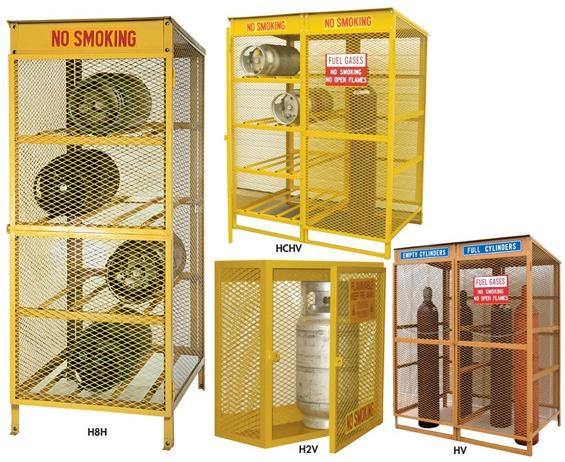 "SAFETY STORAGE CABINETS- 2 Cylinder Cap., Vertical (provides storage for 20, 30 & 43 lb. cylinders) Storage Position, 30 x 32 x 14"" Size W x H x D"