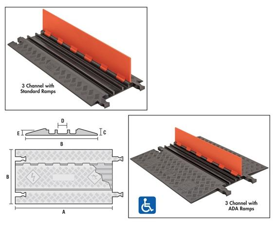 GUARD DOG® LOW PROFILE CABLE PROTECTORS- 5-channel/Standard Ramps, Orange Lid w/ Black Ramps