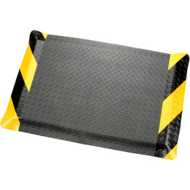 "276018CB Diamond Plate Ergonomic Mat 9/16"" Thick 24""W  Cut Length Up To 75 Ft, Black/Chevron"