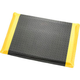 "276018YB Diamond Plate Ergonomic Mat 9/16""Thick 24""W Cut Length Up To 75ft, Black/Yellow Border"
