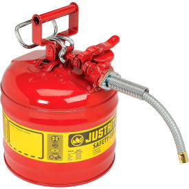 "7220120 Justrite; Type II Safety Can - 2-Gallon with 5/8"" Flexible Spout, Red, 7220120"