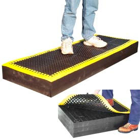 "M23784 7/8"" Thick Anti Fatigue Mat - Black with Yellow Border  24X36"