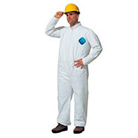 TY120SWHLG002500 Dupont;Tyvek; Disposable Coverall with Open Ended Wrists/Ankles, L, Case Of 25