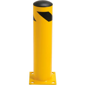 "652898M Steel Bollard With Removable Plastic Cap & Chain Slots - Existing Concrete 24"" x 5-1/2"""