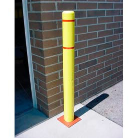 "BC452-YR 4""x 52"" Bollard Cover - Yellow Cover/Red Tapes"