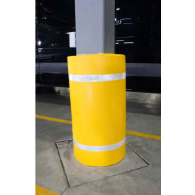 "44""h x 48""w soft nylon column protector -  yellow cover/white tapes 44""H X 48""W Soft Nylon Column Protector -  Yellow Cover/White Tapes"