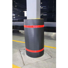 "44""h x 60""w soft nylon column protector -  black cover/red tapes 44""H x 60""W Soft Nylon Column Protector -  Black Cover/Red Tapes"