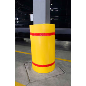 "44""h x 72""w soft nylon column protector - yellow cover/red tapes 44""H x 72""W Soft Nylon Column Protector - Yellow Cover/Red Tapes"