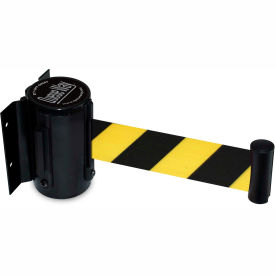 QWAYWALL-D4 Tensator Queueway Black Wall Mount 7.5L Black/Yellow Chevron Retractable Belt Barrier