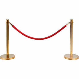 "EK-D2-RD Red Velour Rope 59"" With Ends For Portable Gold Post"