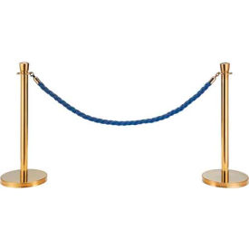 "EK-S2-BL Blue Vinyl Braided Rope 59"" With Ends For Portable Gold Post"