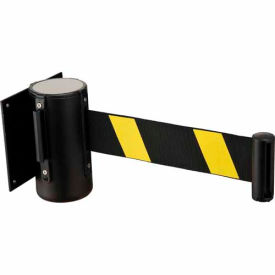 "EK7100LG-T-YB Black Wall Mount 79"" Black/Yellow Retractable Belt Barrier With Receiver"
