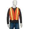 "695304 Global Industrial Hi-Vis Safety Vest, 2"" Lime/Reflective Strips, Polyester Mesh, Orange, One Size"