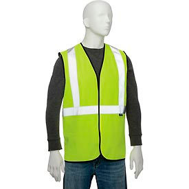 "695308 Global Industrial Class 2 Hi-Vis Safety Vest, 2"" Reflective Strips, Polyester Solid, Lime, Size L/XL"