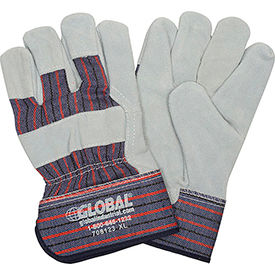 "708123XL Global; Leather Palm Safety Gloves with 2-1/2"" Safety Cuff, X-Large, 1 Pair"