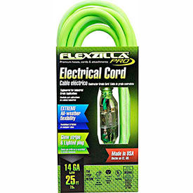 flexzilla fz512725 pro extension cord, 25, 14/3, all-weather, lighted plug, zillagreen
