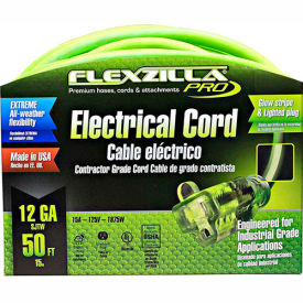 flexzilla fz512830 pro extension cord, 50, 12/3, all-weather, lighted plug, zillagreen