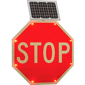 "NK-Stop Global Industrial; 30"" Solar Powered Flashing LED Stop Sign, Octagon"