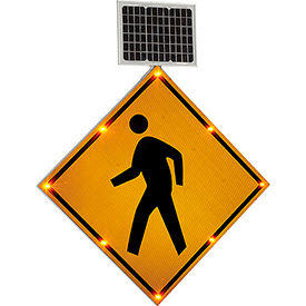 "NK-Pedestrian Global Industrial; 30"" Solar Powered Flashing LED Pedestrian Crossing Sign,  Diamond"