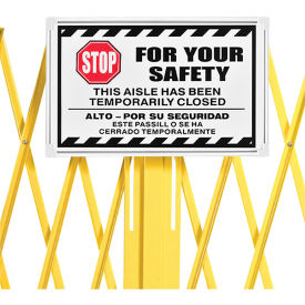 652923sign Steel Portable Barricade Gate Replacement Sign, Aluminum, For 652923