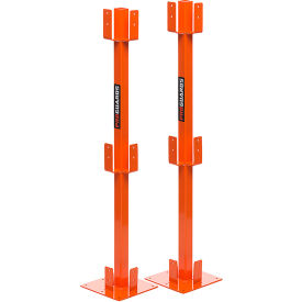 ideal warehouse steel proguard temporary guardrail post kit (2 per box), orange