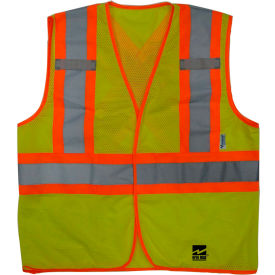 U6110G-4XL/5XL Viking; U6110G Hi-Vis Open Road BTE Safety Vest, Fluorescent Green, 4XL/5XL