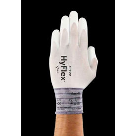 1160011080 HyFlex; Lite Polyurethane Coated Gloves, ANSELL 11-600-8, White, Size 7, 1 Pair