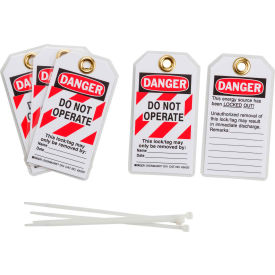 brady® 103541 lockout tag- danger do not operate, 2 sided, 5/pkg, polyester, 25/pack Brady® 103541 Lockout Tag- Danger Do Not Operate, 2 Sided, 5/Pkg, Polyester, 25/Pack