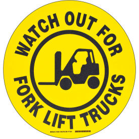 "brady® 104501 floor watch out for fork lift trucks sign, yellow/black, polyester, 17""dia Brady® 104501 Floor Watch Out For Fork Lift Trucks Sign, Yellow/Black, Polyester, 17""Dia"
