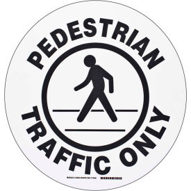 "brady® 104509 floor pedestrian traffic only sign, black/white, polyester, 17""dia Brady® 104509 Floor Pedestrian Traffic Only Sign, Black/White, Polyester, 17""Dia"
