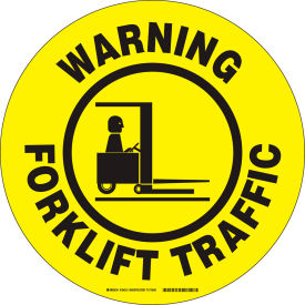 "brady® 104512 floor warning forklift traffic sign, yellow/black, polyester, 17""dia Brady® 104512 Floor Warning Forklift Traffic Sign, Yellow/Black, Polyester, 17""Dia"