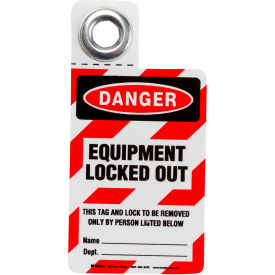 "brady® 105722 padlock tag- danger equipment locked out, hd polyester, 3""w x 3""h, 1/each Brady® 105722 Padlock Tag- Danger Equipment Locked Out, HD Polyester, 3""W x 3""H, 1/Each"