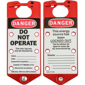 "brady® 22075-r labeled lockout hasp, 1-27/64"" jaw clearance, 5/pk, aluminum, 3""w x 7-1/2""h, red Brady® 22075-R Labeled Lockout Hasp, 1-27/64"" Jaw Clearance, 5/Pk, Aluminum, 3""W X 7-1/2""H, Red"