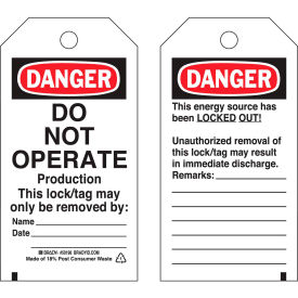 brady® 50198 lockout tag- danger do not operate, 2 sided, polyester, 25/pack Brady® 50198 Lockout Tag- Danger Do Not Operate, 2 Sided, Polyester, 25/Pack
