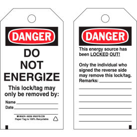 brady® 50258 lockout tag- danger do not energize, 2 sided, hd polyester, 25/pack Brady® 50258 Lockout Tag- Danger Do Not Energize, 2 Sided, HD Polyester, 25/Pack
