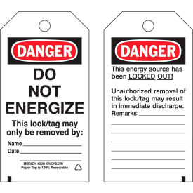 "brady® 50261 lockout tag- danger do not energize, 2 sided, cardstock, 4""w x 5-3/4""h, 25/pack Brady® 50261 Lockout Tag- Danger Do Not Energize, 2 Sided, Cardstock, 4""W x 5-3/4""H, 25/Pack"
