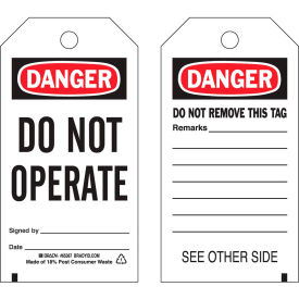 "brady® 65367 danger do not operate tag, 2 sided, 25/pkg, polyester, 3""w x 5-3/4""h Brady® 65367 Danger Do Not Operate Tag, 2 Sided, 25/Pkg, Polyester, 3""W x 5-3/4""H"