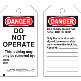 brady® 65408 lockout tag- danger do not operate, 2 sided, polyester, 25/pack Brady® 65408 Lockout Tag- Danger Do Not Operate, 2 Sided, Polyester, 25/Pack
