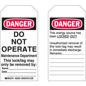 "brady® 65441 lockout tag- danger do not operate, 2 sided, polyester, 4""w x 5-3/4""h, 25/pack Brady® 65441 Lockout Tag- Danger Do Not Operate, 2 Sided, Polyester, 4""W x 5-3/4""H, 25/Pack"