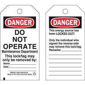 brady® 65442 lockout tag- danger do not operate, 2 sided, cardstock, 25/pack Brady® 65442 Lockout Tag- Danger Do Not Operate, 2 Sided, Cardstock, 25/Pack