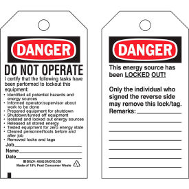 brady® 65450 lockout tag- danger do not operate, 2 sided, cardstock, 25/pack Brady® 65450 Lockout Tag- Danger Do Not Operate, 2 Sided, Cardstock, 25/Pack