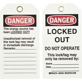 brady® 65454 lockout tag- danger locked out do not operate, 2 sided, cardstock, 25/pack Brady® 65454 Lockout Tag- Danger Locked Out Do Not Operate, 2 Sided, Cardstock, 25/Pack