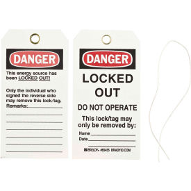 brady® 65455 lockout tag- danger locked out do not operate, 2 sided, cardstock, 25/pack Brady® 65455 Lockout Tag- Danger Locked Out Do Not Operate, 2 Sided, Cardstock, 25/Pack