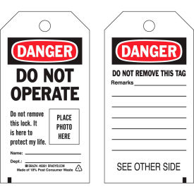 brady® 65500 lockout tag- danger do not operate, photo tag, 2 sided, cardstock, 25/pack Brady® 65500 Lockout Tag- Danger Do Not Operate, photo tag, 2 Sided, Cardstock, 25/Pack
