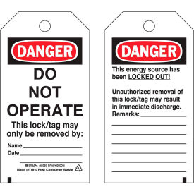 brady® 65502 lockout tag- danger do not operate, self-laminating, heavy duty polyester, 25/pack Brady® 65502 Lockout Tag- Danger Do Not Operate, Self-Laminating, Heavy Duty Polyester, 25/Pack