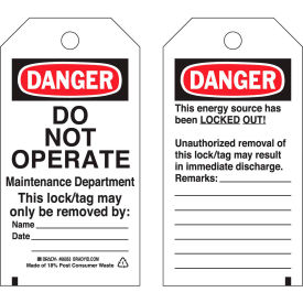 brady® 65503 lockout tag- danger do not operate, heavy duty polyester encapsulated, 25/pack Brady® 65503 Lockout Tag- Danger Do Not Operate, Heavy Duty Polyester Encapsulated, 25/Pack
