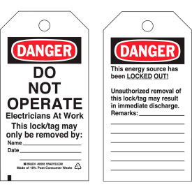 brady® 65504 lockout tag- danger do not operate electricians at work, vinyl, 25/pack Brady® 65504 Lockout Tag- Danger Do Not Operate Electricians At Work, Vinyl, 25/Pack